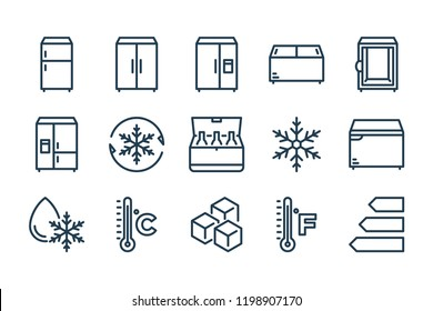 Refrigerator related line icon set. Fridge vector linear icons.