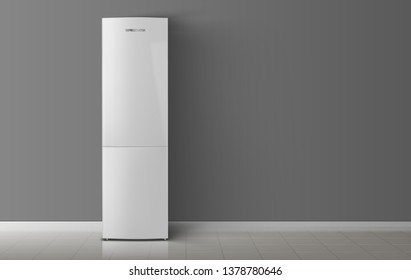 Refrigerator in the room. Vector illustration