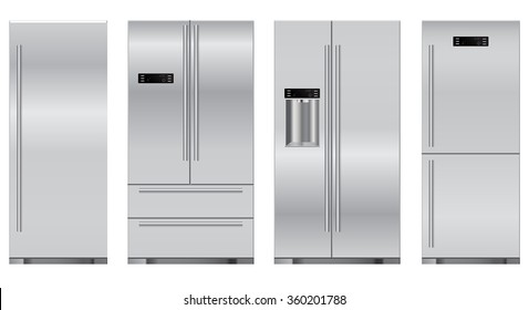 Refrigerator. Set refrigerators: side by side, one door, two doors.  Vector Illustration isolated on white background