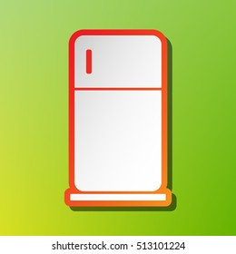 Refrigerator sign illustration. Contrast icon with reddish stroke on green background.