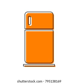 Refrigerator sign illustration. Vector. Black line icon with shifted flat orange filled icon on white background. Isolated.
