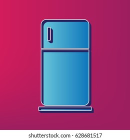 Refrigerator sign illustration. Vector. Blue 3d printed icon on magenta background.