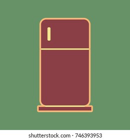 Refrigerator sign illustration. Vector. Cordovan icon and mellow apricot halo with light khaki filled space at russian green background.