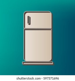 Refrigerator sign illustration. Vector. Icon printed at 3d on sea color background.