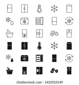 Refrigerator silhouettes and outline icons set