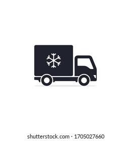 Refrigerator truck icon, Fridge delivery truck symbol. Vector.