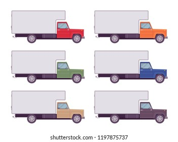 Refrigerator truck set in bright colors. Large, motor vehicle transporting goods, powerful car for long distance travel. Vector flat style cartoon illustration isolated on white background, side view