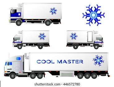 Refrigerator trucks set, vector illustration. Snowflake symbol, logo. Isolated on white. Icon. Flat style