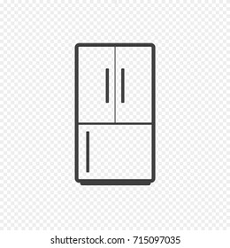 Refrigerator Vector Icon isolated on Transparent Background. Vector Illustration of Fridge in Line Style. Home Appliances Refrigerator, Fridge, Freezer.