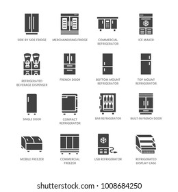 Refrigerators flat glyph icons. Fridge types, freezer, wine cooler, commercial major appliance, refrigerated display case. Silhouette signs for household equipment shop. Pixel perfect 64x64.
