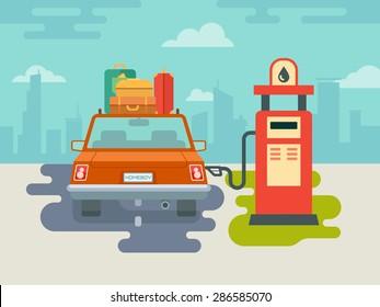 Refuel car at gas station concept flat illustration