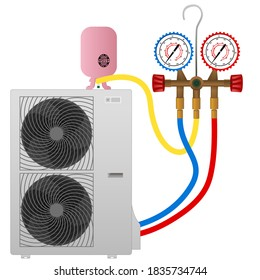 refueling the air conditioner with freon