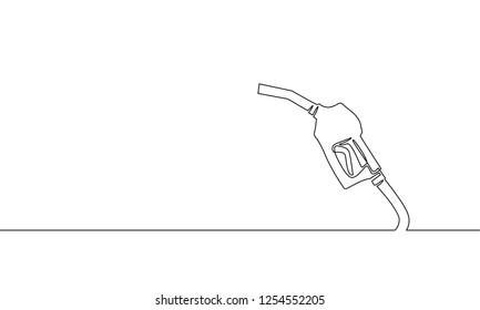 Refueling gas gun dispenser single continuous line art. Petrol industry business car diesel pump refuel headline silhouette concept design one sketch outline drawing white vector illustration