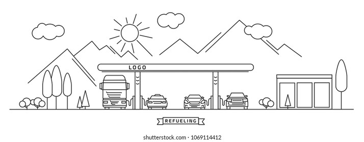 refueling gas station on travel route with mountains, with different cars and other vehicles,  linear graphic