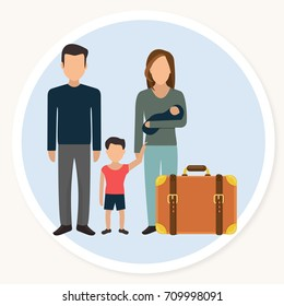 refugee family with child and luggage flat design icon