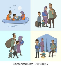 The Refugee Family with Children. Sailing to Europe on the Boat. Land Transition and Life in the Refugee Camp. European Migrant Crisis Concept. Vector Illustration, isolated.