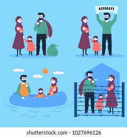 The Refugee Family. Sailing with buggage to europe on the rubber boat. Land Transition and life in the refugee camp. European migrant crisis concept. Flat vector Illustration