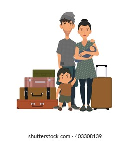 refugee family with suitcases on a white background. homeless family with the latest things.
