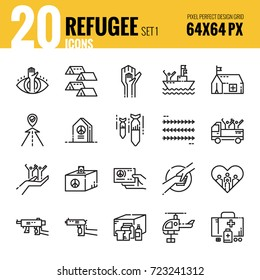 Refugee and immigration icon set 1. Flat thin line icons design. vector