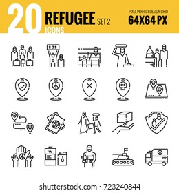 Refugee and immigration icon set 2. Flat thin line icons design. vector