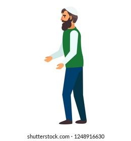 Refugee man hopeless icon. Flat illustration of refugee man hopeless vector icon for web design