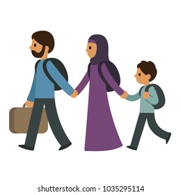 Refugee migrant family, two parents and child. Middle eastern muslim immigrants cartoon characters vector illustration.