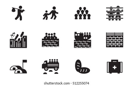 Refugee and migration icon set. Vector.