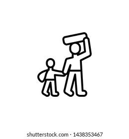 refugee migration outline icon. element of migration illustration icon. signs, symbols can be used for web, logo, mobile app, UI, UX