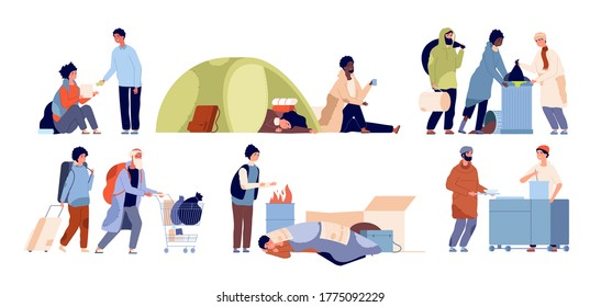Refugee problems. Homeless mother, starvation poor people. Isolated poverty guy vagabonds, social inequality and charity vector illustration