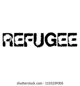 Refugee stamp on white