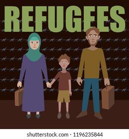 Refugee vector illustration. Flat cartoon character design. Fleeing war. Illigal immigrants