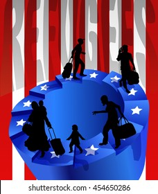 Refugees on an endless circular staircase. The stars of the US on the steps. United States flag on background. Concept of illegal immigration. Optical illusion.