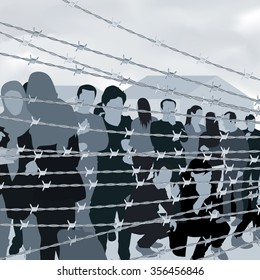 Refugees people behind barbed wire. Vector illustration