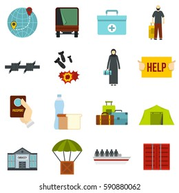 Refugees problem set icons in flat style isolated on white background