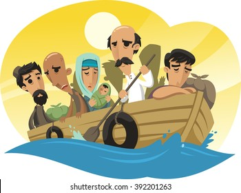 Refugees sailing on a raft to the sea with hope of salvation illustration
