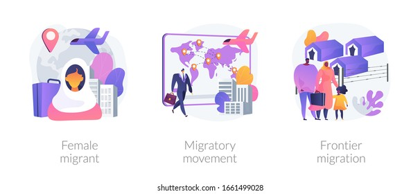 Refugees of war and gender discrimination metaphors. Female migrant, migratory movement, frontier emigration. Asylum seekers community abstract concept vector illustration set.