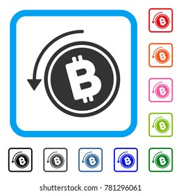 Refund Bitcoin Cash icon. Flat gray iconic symbol in a blue rounded rectangle. Black, gray, green, blue, red, orange color variants of Refund Bitcoin Cash vector. Designed for web and software UI.