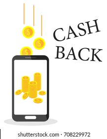 Refund. Cash back service. Gold coins in phone. Vector illustration on white background