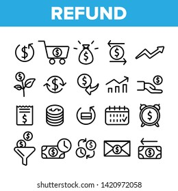 Refund, E-payment System Vector Linear Icons Set. Internet Order Refund, Online Money Transaction Outline Symbols Pack. Banking And Finance. E-Commerce, Cash Back Service Isolated Contour Illustration