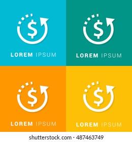 Refund Four Color Material Designed Icon / Logo