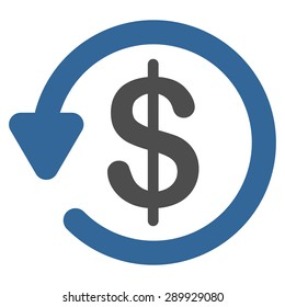 Refund icon from Business Bicolor Set. This flat vector symbol uses cobalt and gray colors, rounded angles, and isolated on a white background.