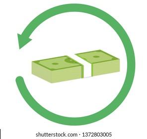 refund money icon on white background. flat style. refund money icon for your web site design, logo, app, UI. refund sign.