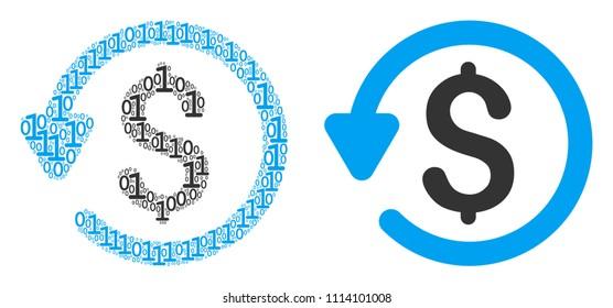 Refund mosaic icon of zero and null digits in randomized sizes. Vector digital symbols are randomized into refund mosaic design concept.