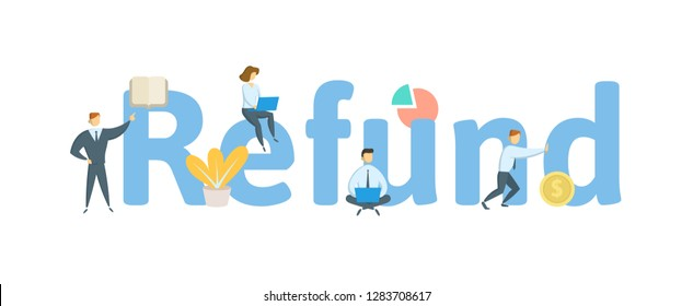 REFUND word concept banner. Concept with people, letters and, icons. Colored flat vector illustration. Isolated on white background.