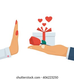 Refusal of gift. Rejecting marriage proposal. Man holding in hand gift box with ribbon and red rose. Woman gesture rejects the proposal. Vector illustration flat design. Isolated on white background.