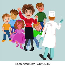 Refusing vaccine concept. Doctor holding syringe in hand offers gives medicines. Rejection gesture around are having fun with diseases from which a high mortality rate in children