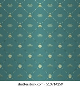 Regal seamless pattern with light yellow regal fleur de lys and tiara ornament signs in style of fashion on aqua blue shining background with polka dot border fill out. Multipurpose elegant backdrop.
