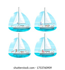 Regatta with people semi flat vector illustration set. Family relax on boat. Couple on romantic date on private ship. Multicultural group on trip. Vacation 2D cartoon characters for commercial use
