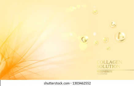 Regenerate face cream and Vitamin complex concept. Shining golden essence droplet. Vitamin E drop in form of sphere. Beauty skin care design over orange backdrop. Vector illustration.