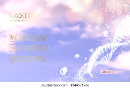 Regenerate face cream and Vitamin complex concept. Shining blue essence droplet. Vitamin E drop in form of sphere. Beauty skin care design over water background. Vector illustration.
